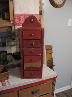 Primitive Folk Art Red Painted Cabinet of Drawers ~ SOLD