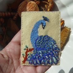 Blue Peacock!  Embroidered Yarn and Felt ACEO by Nofkants Curios