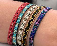 Handmade jewelry gift for her. Silver or gold bracelet - Custom Jewelry Ideas Loom Bracelet Patterns, Bead Loom Bracelets, Bead Loom Patterns, Beading Patterns, Handmade Bracelets, Handmade Jewelry, Beading Techniques, Loom Beading, Hippie Style