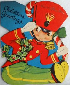 #260 50s Toy Soldier & Candy Cane-Vintage Diecut Christmas Greeting Card