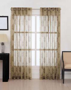 Kingsbury Damask Voile Sheer Curtain Panel / Curtainworks.com