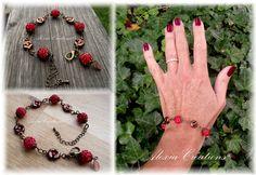 Bracelet Berries. Avec perles Arcos® et Minos® par Puca®    DIY : ttps://www.generationperles.fr/v4/idees_creatives-357.html   ou Disponible à la vente ici : https://www.generationperles.fr/boutiquev4/bijoux_soie-3/bijoux_alexia_creations-24/bracelet-3516/bracelet_berries_rouge_et_bronze-9334.html