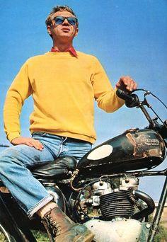 Steve McQueen~Triumph Motorcycle~Biker~Motocross~Photo~ Poster x Steven Mcqueen, Steve Mcqueen Triumph, Steve Mcqueen Style, Steve Mcqueen Motorcycle, Paul Newman, Foto Glamour, La Mode Masculine, The Great Escape, Triumph Motorcycles