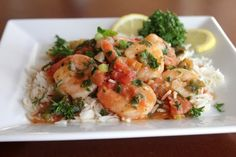 Healthy Spicy Shrimp Scampi Recipe with Organic Muir Glen® Tomatoes