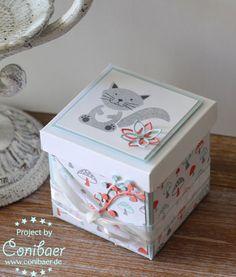 www.conibaer.de Kleine Box, Geschenkverpackung, Baby, niedliche Tiere, Stampin´Up!, small gift, gift wrapping, cute animals, foxy friends,