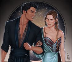 Rhysand and Feyre going on a date in Velaris (by Cocotingo)