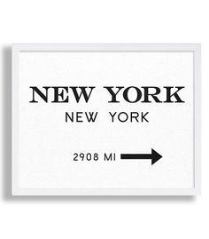 New York City Print Typography Art Print Gift for Him Fashion Art NYC Art Prada Marfa Sign Like in Gossip Girl Print Black and White Print