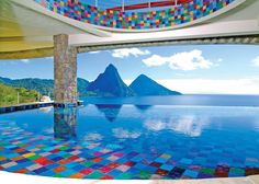 Colorful infinity pool, at Anse Chastenet Resort at St. Lucia