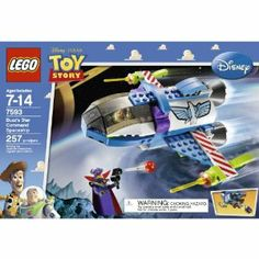 """LEGO Toy Story Buzz's Star Command Ship (7593) by LEGO. $33.03. Includes 2 minifigures:  Buzz Lightyear and Evil Emperor Zurg. Part of scene where Buzz  believes he has landed on the Earth. Buzz spaceship with opening panels and cockpit. Moon buggy hidden inside spaceship. 257 pieces. From the Manufacturer                """"Not today, Zurg.""""  On a mission to save the Galaxy, Buzz Lightyear travels to distant planets in his Star Command Spaceship.  Buzz is always ready to ..."""