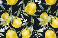 Watercolor lemons patterns by Lembrik's Artworks on @creativemarket