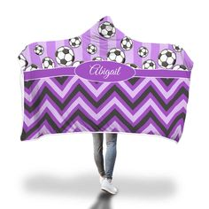 Purple Soccer Stripes and Chevron Hooded Blanket Hooded Blanket, Soccer Players, Little Ones, Blankets, Hoods, Chevron, Stripes, Cozy, Purple