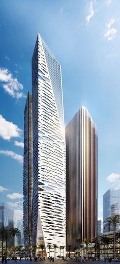 KAFD World Trade Centre, Riyadh, Saudi Arabia by Gensler Architects:: 67 floors, height 303m