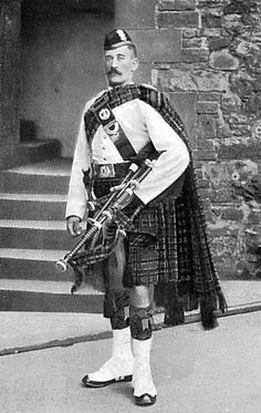 Old photograph of a Black Watch Piper in Perth, Perthshire, Scotland