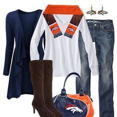 Denver Broncos Fall Fashion. Not so into those boots but some nice white sneakers would work too!