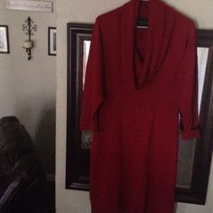 New Red sweater dress XL Crowl neck thin cozy Brand New Red sweater dress Crowl neck thin cozy material is thin sweater knit not thick-GREAT For easy moving Connected Sweaters Cowl & Turtlenecks