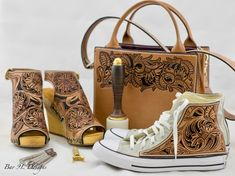 #Hand #Tooled #Leather #Sandal with #Buckle