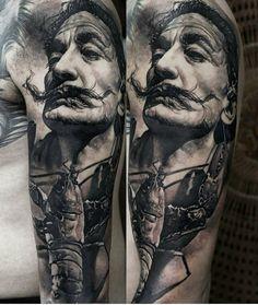 tattoorealistic on Picoji Salvador Dali Tattoo, Occult Art, Art Drawings Sketches, Black And Grey Tattoos, Tattoo Designs Men, Ink Art, Tattoo Images, Tattoo Artists, Cool Tattoos