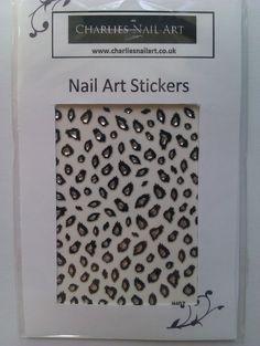 Gem leopard print nail stickers £1 http://www.charliesnailart.co.uk/gem-leopard-nail-art-stickers/