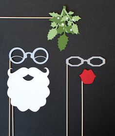 hahaha! Photobooth Prop. Photo Prop. Santa and Mrs Claus Mistletoe Photo Booth Prop, via Etsy.