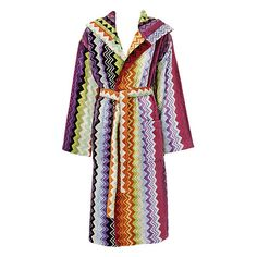This Missoni Home Giacomo bathrobe has a brightly coloured zigzag design in vibrant multi-colours. Luxuriously soft to touch this bathrobe is made from cotton with a hood for added comfort. Missoni, Zig Zag Pattern, Colourful Outfits, Colorful, Boutique, Mantel, Lounge Wear, Hoods, High Fashion