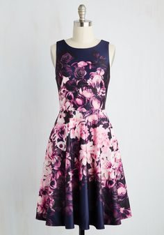 The Twirl We Live In Dress - Blue, Pink, Floral, Print, Pockets, Party, Daytime Party, A-line, Sleeveless, Woven, Better