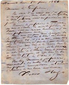 Lettre autographe de Voctor Hugo sur l'Âme de la France