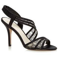 Designer black asymmetric lace strap high sandals ($84) ❤ liked on Polyvore featuring shoes, sandals, heels, kohl shoes, black heel sandals, stilettos shoes, high heels stilettos and stiletto sandals