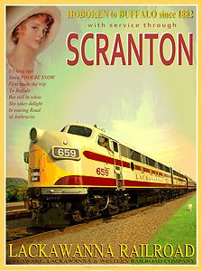 Lackawanna Railroad Phoebe Snow  Scranton Train Poster