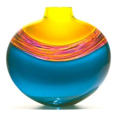 Art-Glass Blue and Gold with a Rainbow ribbon of colour Vase by *(?find out artist)/ similar on Artfulhome?poss MT?)*♥≻★≺♥