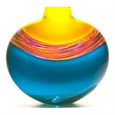 Art Glass Vase, Blue Rainbow Design