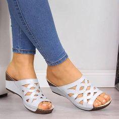 Peep Toe Wedges, Wedge Sandals, Leather Sandals, Mule Sandals, Summer Sandals, Beach Sandals, Minimalist Shoes, Casual Heels, Chunky Heels
