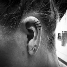 kulak_ici_dovme_modelleri_inner_ears_tattoo_models uploaded by Inner Ear Tattoo, Inner Ear Piercing, Ear Piercings, Inner Finger Tattoo, Little Tattoos, Mini Tattoos, Small Tattoos, Piercing Tattoo, Model Tattoos