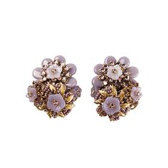 Stanley Hagler 1950s Floral Earrings | From a unique collection of vintage clip-on earrings at https://www.1stdibs.com/jewelry/earrings/clip-on-earrings/