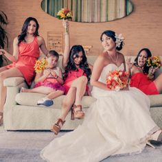 Bridesmaids having fun  perfect orange details for your summer wedding from these two vendors! (image via Kpix Photography)