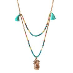 http://www.plumesdabeille.fr/  #ananas #tropical #coquillage #sea #mermaid #pompon #collier #bijoux #boho
