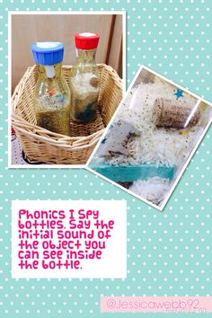 Phonics I spy bottles. Say the initial sound of the object you see in the bottle.