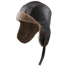 aviator hat   Vintage Distressed Leather Aviator Hat