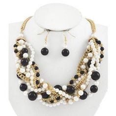 Black and Cream Braided Pearl Necklace and Earring Set - $19.00
