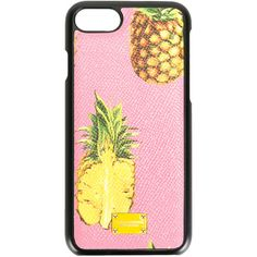 Dolce & Gabbana pineapple print iPhone7 case ($155) ❤ liked on Polyvore featuring accessories, tech accessories and pink