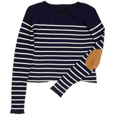 Striped Elbow Patch Knit Top | $12.50 | Trendy Cheap | Shirts | Blue |... ($5) ❤ liked on Polyvore featuring tops, sweaters, shirts, stripe shirt, knit tops, stripe top, women tops y striped knit top
