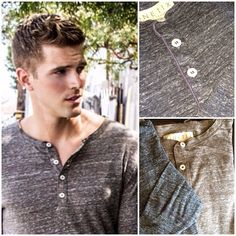 Comfortable, light weight henleys are excellent for layering with another henley, a button down or a vneck tshirt.  How do you style your henley?  Simply put, together.  Damaur.com                                                #Menswear #damaur #LosAngeles #fashion #style #LA #hollywood #casual #mensfashion #dapper #gay #madeinamerica #streetstyle #malemodel #gq #henley