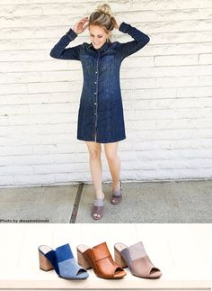 Loving the chic slip-on style of the Sayer Malia mule from Hush Puppies. It's easy to dress up or down, with all the built-in comfort tech you're sure to feel as good as you look! Check out how @DressMeBlonde styles hers with a fun denim button-up dress!