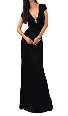 9e538285cf VIVICASTLE Women s Summer Solid V-neck Short Sleeve Wrap Tie Waist Long  Maxi Dress (Small