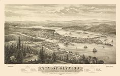 Perfect picture for your office or home.  Bird's eye view map of Olympia Washington  https://www.etsy.com/listing/71323256/vintage-map-olympia-washington-1879?ref=listing-shop-header-4 #Washington #Olympia