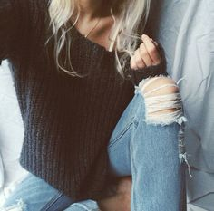 ♠️ Want a black sweater patterned & collarbone cut like this ♡