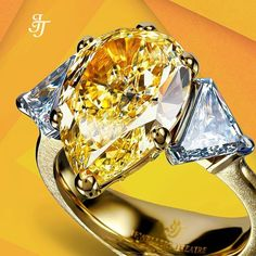 This ring from our #Nobility collection features an unusual combination of #diamond cuts and very fine handmade gold work. The magnificent yellow #pearshape diamond at 5.54ct is complemented by two #trilliantcut diamonds at 1.34ct. There are a further 24 #yellowdiamonds at 0.17ct in pave. #jewellerytheatre #jewelry #DiamondRing #FineJewellery