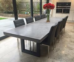 Polished concrete dining table and bench seat, patio alfresco table with powder coated black base. x charcoal outdoor table Concrete Top Dining Table, Concrete Dining Table, Dinning Room Tables, Concrete Furniture, Modern Dining Table, Dining Room Design, Home Furniture, Large Dining Tables, Grey Dinning Table