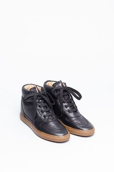 Woman by Common Projects  Hidden Wedge Sneaker (Black Leather)