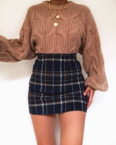 Buy the latest Chunky Cable Knitted Long Sleeve Jumper in Brown today for this winter! 6th Form Outfits, Mode Outfits, Girly Outfits, Cute Casual Outfits, Pretty Outfits, Stylish Outfits, Winter Fashion Outfits, Fall Winter Outfits, Look Fashion