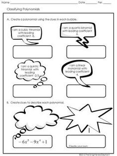 Printables Classifying Polynomials Worksheet pinterest the worlds catalog of ideas